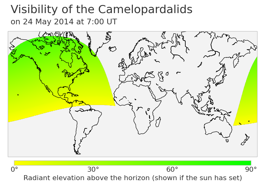Camelopardalids visibility map.